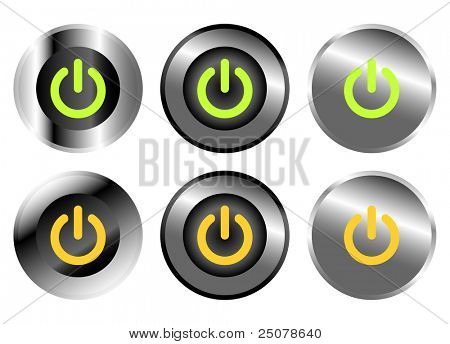 A collection of rounded chrome computer power buttons.