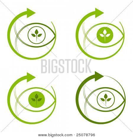 Environmentally conscious eye logo.