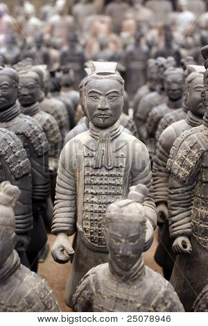 Replica of terracotta warriors found in Xian, China.