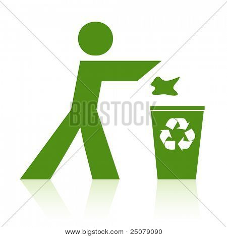 Person throwing rubbish into a recycle bin.