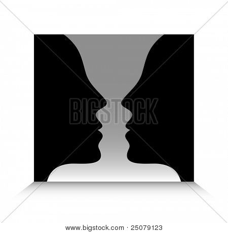 Optical illusion. Head to head or a goblet?