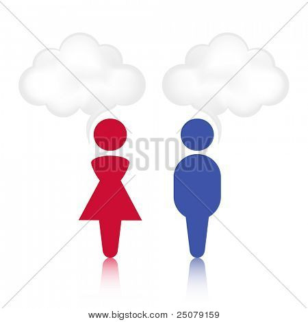 Abstract male and female cloud chat bubble.