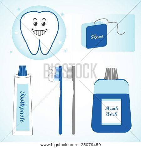 Dental design elements containing happy white tooth, floss, toothpaste, toothbrushes, and mouth wash.