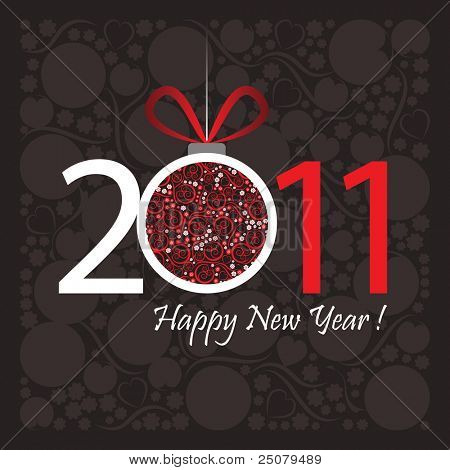 2011 Happy New Year greeting card or background.