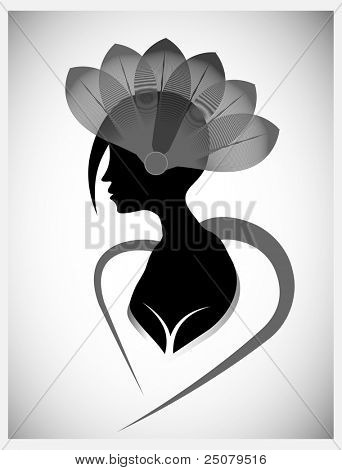 Funky girl hairstyle silhouette with fashionable feather hat.