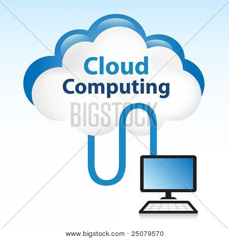 Cloud computing concept. Computer connected to data located in the