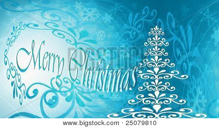 Blue Christmas card Christmas tree