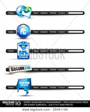Set of modern high tech style search banners and web headers with various label tags for your text. Shadows are all transparent so you can place it on every surface.