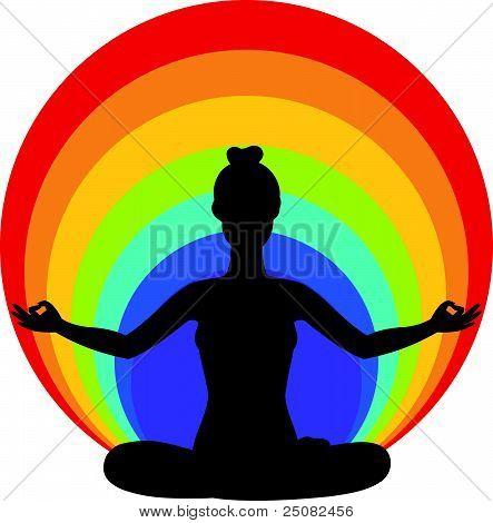schöne Frau in Yoga Lotussitz sitzen. Vektor