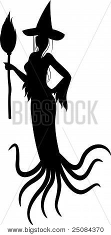Beautiful girl witch with pumpkin in Halloween style. Vector illustration