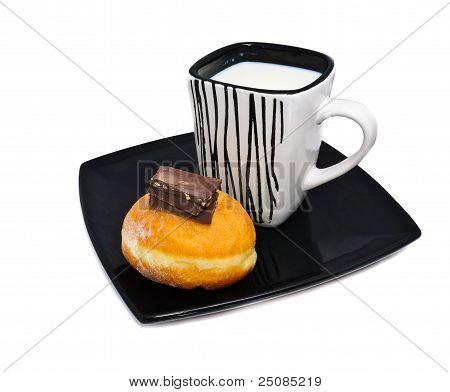 Mug Of Milk And A Bun
