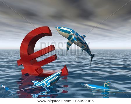 High resolution conceptual bloody euro symbol or sign sinking in water or sea, with greece sharks eating as a metaphor or concept for crisis in Europe, ideal for financial,business or currency designs