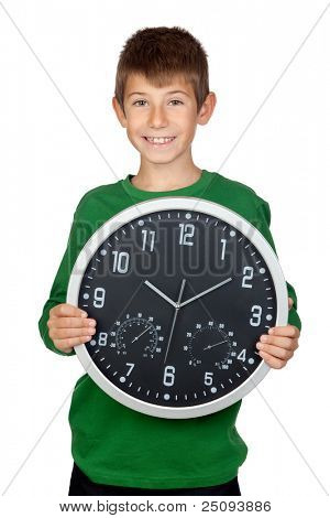 Adorable boy with a big clock isolated on white background