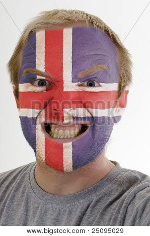 Face Of Crazy Angry Man Painted In Colors Of Iceland Flag