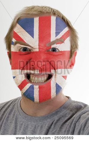 Face Of Crazy Angry Man Painted In Colors Of Uk Flag