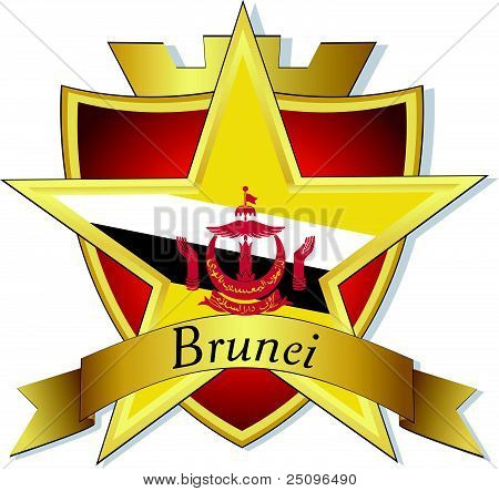 Vector Gold Star To The Flag Of  Brunei On The Background Of The Shield