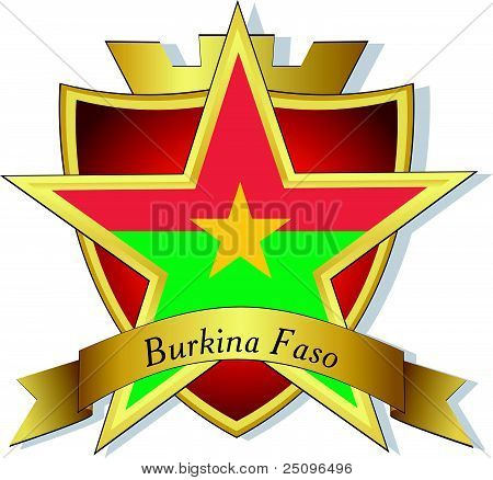 Vector Gold Star To The Flag Of Burkina Faso  On The Background Of The Shield