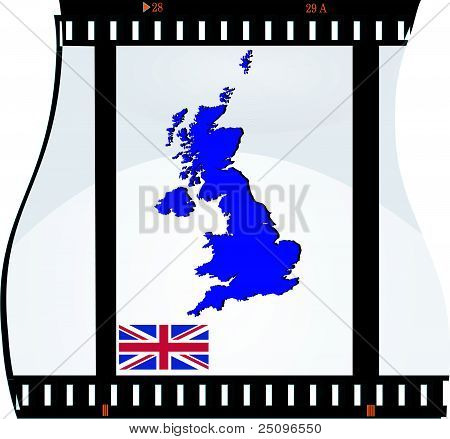 Film Shots With A National Map Of United Kingdom