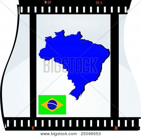 Film Shots With A National Map Of Brazil