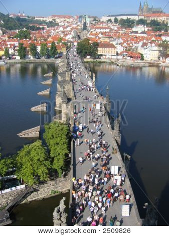 Charles Bridge, View From The Tower. Prague, Czechia.