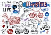 stock photo of tween  - Hipsters doodle set  part 2 - JPG