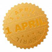 1 April Gold Stamp Seal. Vector Gold Medal Of 1 April Text. Text Labels Are Placed Between Parallel  poster