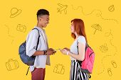 Planning Journey. Cheerful Young Friends Holding Modern Devices And Smiling To Each Other While Plan poster