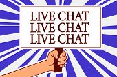 Text Sign Showing Live Chat Live Chat Live Chat. Conceptual Photo Talking With People Friends Relati poster