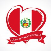 Love Peru Greeting Card With сoat Of Arms And Spanish Text Independence Day On Red Ribbon. 28 July,  poster