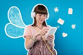 New Headphones. Positive Girl Wearing New Headphones And Listening To Music While Chatting Online poster