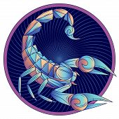 Scorpio Zodiac Sign, Horoscope Symbol. Futuristic Style Icon. Stylized Graphic Blue Scorpion With Ra poster