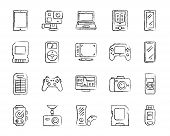 Device Charcoal Icons Set. Outline Web Sign Kit Of Gadget. Electronics Linear Icon Collection Includ poster