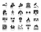 Bankruptcy Silhouette Icons Set. Monochrome Web Sign Kit Of Business. Crisis Pictogram Collection In poster