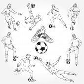 Hand Drawn Soccer Players Outline