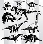 Set of Dinosaurs Hand Drawn