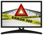 Error 500 (internal Server Error). The Message In The Monitor. Emergency Stop Sign Of A Vehicle On T poster