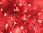 Hearts Flying On Red Background
