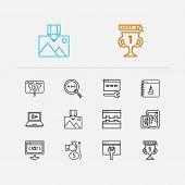 Optimization Icons Set. Seo Optimization And Optimization Icons With Image Optimization, Link Buildi poster