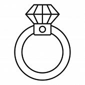 Diamond Ring Icon. Outline Diamond Ring Vector Icon For Web Design Isolated On White Background poster