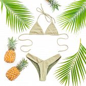 Summer Concept. Pineapples Fruits And Bikini Swimwear On White Background. Flat Lay, Top View. poster