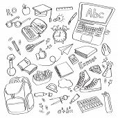 School Clipart Vector Doodle School Icons Symbols Back To School Background Sketch Drawing Hand Whit poster