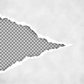 Gray Ripped Open Paper With Transparent Background. Torn Paper Sheet. Torn Paper Edge. Paper Texture poster