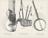 music theme banners -traditional instruments