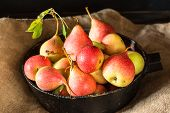 Fresh Ripe Organic Red Pears On Rustic Wooden Table, Natural Background, Vega, Diet Food. Autumn Har poster