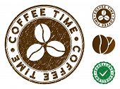 Coffee Time Brown Stamp. Vector Seal Print Imitation With Grunge Style And Coffee Color. Round Vecto poster