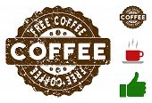 Free Coffee Quality Medallion Stamp. Vector Seal With Grunge Surface And Coffee Color For Rubber Sta poster