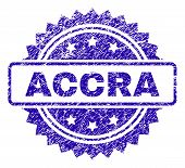 Accra Stamp Imprint With Dirty Style. Blue Vector Rubber Seal Print Of Accra Label With Dirty Textur poster