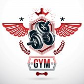 Vector Winged Graphic Symbol Created With Disc Weight Dumb-bell And Royal Crown. Fitness Workout And poster