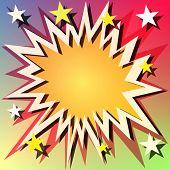 Постер, плакат: Вектор книга комиксов взрыва фон с звездами