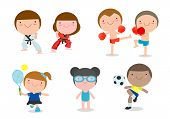 Kids And Sport, Kids Playing Various Sports On White Background , Cartoon Kids Sports,boxing, Footba poster